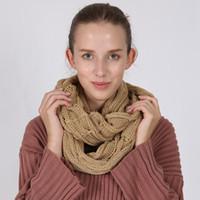 Зимний шарф 140*35 см круг петли шарф женщины обернуть шарфы 10 цветов толстые теплые шеи шарф LJJO7345