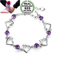 OMHXZJ оптового способа Present высокого качества Аметист 925 стерлингового серебра фиолетовый Cherish любовь подарков Женщины Браслеты BanglesSZ34