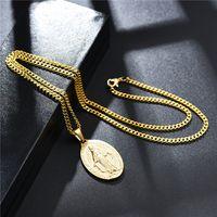 18 K Altın Kaplama Charm Erkek Kadın Bakire Mary Kolye Kolye Moda Hip Hop Takı 50 cm Uzun Alaşım Paslanmaz Çelik Link Zinciri Tasarımcı Kolye Erkekler Hediye Için
