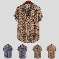 남성 캐주얼 셔츠 셔츠 카메인 통기성 코튼 남성 레오파드 빈티지 짧은 소매 streetwear 탑스 느슨한 해변 하와이 2021