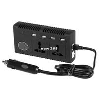 Freeshipping 4200PC 200W DC 12V para AC 110V Car Smart Power Inverter w / 4-USB + Dual AC