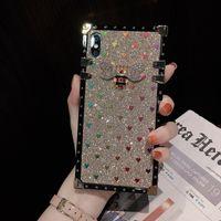 iPhone için Telefon vaka elma Kare Kenar İçin Kadınlar Kız Elegant Yumuşak Koruyucu Metal Destekli Köşeler Darbeye Kapaklı Cases x