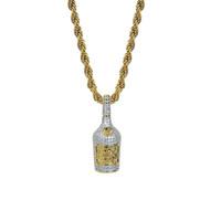 Moda Butelka wina Wisiorek Męskie Naszyjnik Hiphop Iced Out 18 K Pozłacana Biżuteria Bling Cyrkonia Letnia Biżuteria