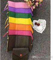высокое качество женщины мужчина с коробкой кожа многоцветный короткий дизайнерский бумажник держатель карты классический карман на молнии викторина