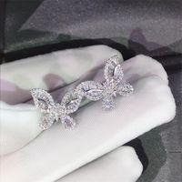 Donne Wedding trasporto di goccia monili di lusso 925 Sparkling Silver principessa White Topaz diamante Partito Popolare Orecchino farfalla