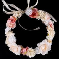 Garland Couronne Bandeau Couronne de fleurs Hairband mariage nuptiale guirlandes de fleurs filles princesse fleur de mariage LXL350L