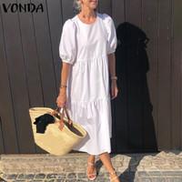VONDA Vestido de verano Bohemio Sundress Mujer Vintage Linterna Manga Swing Maxi Vestido largo Vestidos sueltos ocasionales Vestidos Tallas grandes