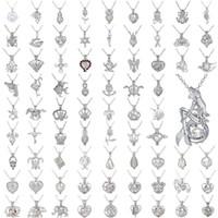 Großhandel ctrative Natürliches Frischwasser Auster Perlenkette für Frauen aushöhlen Engel Blume Herz-Anhänger Halskette Partei Hochzeit Schmuck g
