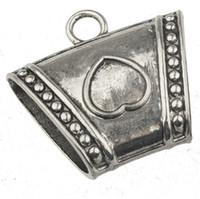 bricolage perles en argent pour écharpes bails breloques pendentifs connecteur coeur amour secteur ovale grand trou métal écharpes en hiver conclusions 37mm 30pcs