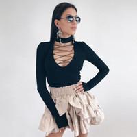 Natural Color Long Sleeve Jumpsuits Frauen Kleidung der Frauen Designer Lace-Up Jumpsuits Sexy Skinny Slim Strampler Beiläufiges