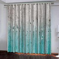 пользовательские bCurtain украшения 3D краткое синий серый деревянная доска шторы для спальни гостиная полиэстер комната занавес