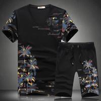 Motif court été Ensembles Hommes Costumes Casual Coconut Island impression pour les hommes chinois de style Ensembles de costume T-shirt + Pantalons Designer Survêtement Qualité