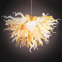 Lámparas de candelabros Modernas Bulbos LED Vintage Colgante Colgante Luz Mano Florada Vidrio Lámpara de araña Luces de cristal superior