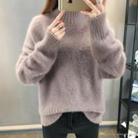 Теплые норковые кашемировые мягкие свитера и пуловеры женщины Осень Зима свитер водолазка Sueter Mujer Pull Femme пуловеры топы FS5703