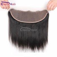 Encaje Frontal D Cierre brasileña recta de seda con rayita natural oreja a oreja Mink brasileño del cabello humano encaje completo Frontales Piec pelo