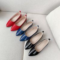 Zapatos de mujer cadena de metal para damas tobillos plana mocasines resbalones en cuero patente zapatos casuales romanos zapatos mujer plana plana talla grande 34-48