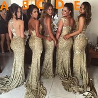 Сексуальное длинное золотое платье для подружек невесты с блестками и боковыми разрезами Блестящее кружево русалки Maid Of Honor Dress vestidos madrinha para festa de casamento