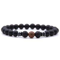 تصميم مختلف أسود الحمم الخرزة سوار الرجال والنساء اليدوية الملونة 8 ملليمتر الحجر الطبيعي النمر العين سوار