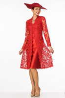 Knee Length Red Mother of the Bride Dress with Lace Coat Jac...