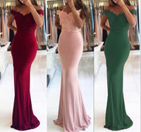 Off The Shoulder Satin Mermaid Long Bridesmaid Dresses 2019 ...