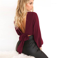 Backless Tshits Long Sleeve V Neck Solid Color Sexy Female C...