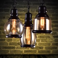 Vintage Loft Pendant Light Industrial Style Amber Glass Lamp...
