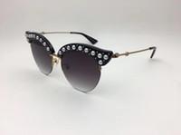 Luxus Cateye Sonnenbrille Frauen Markendesigner 0212S Cat Eyes Sonnenbrille für Frauen Pearly Summer Style UV-Schutz Sonnenbrille mit Fall kommen