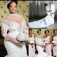 Luxo 2020 sul africano sereia vestidos de noiva rendas cristais beading mangas compridas vestido de noiva de alta pescoço sheer neck plus size vestiods