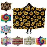 Kapşonlu Battaniye Ayçiçeği Çocuklar Atmak Battaniye Giyilebilir Polar Battaniye Yatak Malzemeleri Noel Hediyesi Leopar Kravat Boya 18 Tasarımlar 5 adet DW4278