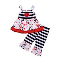 Meninas Do Bebê de verão Princesa Roupas Tarja Loja Flor Spaghetti Strap Tops + Stripe bell-bottoms 2 pcs Ternos Conjuntos de Roupas Crianças Y2325