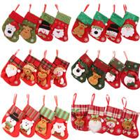 24 stili Mini Natale appeso Calze calze regalo sveglio di caramella di Natale sacchetto pupazzo di Babbo Natale cervi sopportare Alberi di Natale Decori