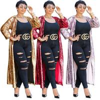 Vêtements grande taille Paillettes Cardigan Designer outerwear Femmes en vrac manches demi clair couleur Mesdames Cap Femme