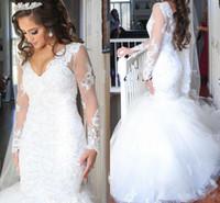 2019 Langarm Spitze Brautkleider Pailletten Perlen Luxus Dubai Arabisch Spitze Novia plus size Meerjungfrau Brautkleider
