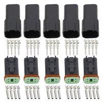 Schwarz 5 Sätze 4 Pin DT04-4P / DT06-4S Automobil Wasserdichter Draht Elektrische Deutsch Connector Stecker