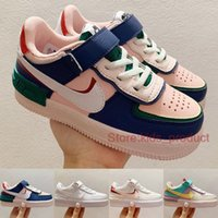 Nike Air Force 1 Shadow Enfants Chaussures Mystic Navy Filles Garçons Baskets Triple Blanc Toddler Pale Ivory Skateboard Chaussures Taille 26-35