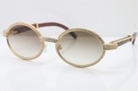 Toptan Satış - Gözlük Ahşap Tam Kare Elmas gözlük 7550178 Güneş Gözlüğü Yuvarlak Vintage Unisex tasarımcı High end marka Gözlük Boyutu: 55