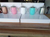 SF A08에 의해 젖꼭지 뚜껑 무료 배송과 함께 더블 핸들 우유 잔 10온스시피 컵 300ml의 스테인레스 스틸 텀블러 어린이 병