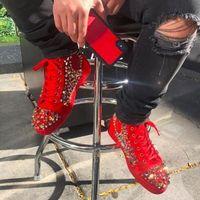 جودة عالية أحمر من المدبوغ + مزيج المسامير عالية أعلى حذاء رياضة أسفل أحمر حذاء للنساء، رجال العلامة التجارية الشهيرة عارضة المشي - حزب الزفاف eu47.box