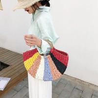 Frauen Markenbeutel koreanische Handtasche Außen Bunte Halbkreis-Kunst-Strand-Tasche 2019 Reisebilder Props Stroh-Beutel Mond