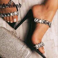 Aneikeh 2020 PVC Moda Scarpe donna Sandali Perline strass paillettes estremità appuntita peep toe partito Thin Tacchi alti sandali delle signore MX200407