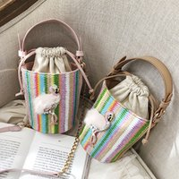 Rainbow Bucket Handmade Straw Bag Chain Women' s Handbag...