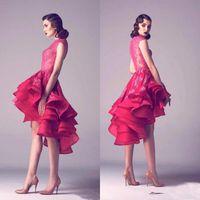 Fuchasia High Baixo Baixo Vestidos Homecoming Ruffles 2019 Teal A Linha Fiered Skirt Lace Appliques Illusion Curto Cocktail Noite Prom Festa Dress