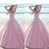 Prinzessin Blumenblume Rosa Ballkleid Quinceanera Kleider 2020 Applique Tüll Scoop Sleeveless Lace Morice Lange Prom Dresses Formale Party