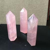 Rosa natural de la roca de cuarzo rosa de cristal varita Punto Healing alta calidad Mineral Piedra meditación Terapia Protección Amuleto para la decoración casera DIY