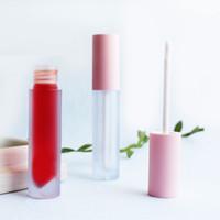 5 ml esmerilado Rosa redondo brillo de labios tinte tubos de plástico DIY vacío maquillaje bálsamo labial tubo líquido lápiz labial Mini muestra
