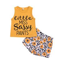 Sommer sleeveless Weste Kinder Mädchen städtische Kleidung Sonnenblumenmuster 2Stk Set Outfits Kid Beiläufigen Kleidung Kinder Kleidung
