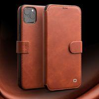 Moda tirón del cuero genuino para la cubierta magnética del caso hecho a mano iPhone11Pro ranura del teléfono Tarjeta de hebilla