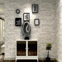 Krem Beyaz Gri Vintage Taş Tuğla Duvar kağıdı Duvarlar İçin Rulo Sahte 3D Duvar İçin Salon Restoran olmayan Duvar Kağıdı dokuma