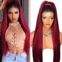 180% Density Long Straight Lace Wigs Ombre Red Lace Front Wi...