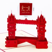 Retro Tower Bridge Landmark 3D Up Greeting Card Laser Cuttin...